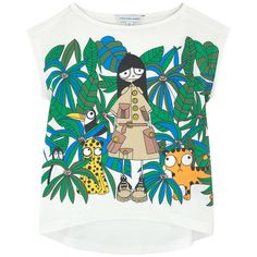 Modal and cotton jersey Pleasant to the touch Longer cut in the back  Sailor collar Short sleeves Mrs Marc print - ss16