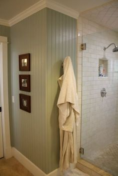 Master bath remodel painted bead board walls and crown molding Bathroom Color Schemes, Bathroom Colors, Colour Schemes, Bathroom Renos, Small Bathroom, Bathroom Beadboard, Bathroom Laundry, Downstairs Bathroom, Master Bathroom
