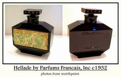 """Hellade by Parfums Francais Inc: launched in 1932, black glass hexagonal bottle w/ paper label featuring Neo-Classical putti. Bottle is deeply engraved with """"Hellade"""" and """"Nancy"""" on verso. Base is deeply engraved with """"Paris France"""". Bottle by Baccarat for Parfums Francais, Inc of New York. The bottle measures 2 1/4"""" tall. Black Perfume, Old Perfume Bottles, Vanity Design, Black Glass, Vintage Black, Product Launch, Jar, Crystals, Needful Things"""