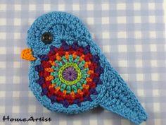 Ganchillo apliques - ganchillo del pájaro adornos apliques - un producto único por HomeArtist en DaWanda