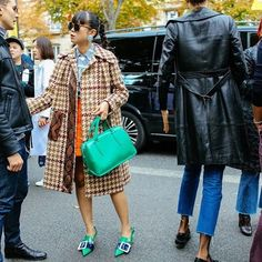Love this look. leaf greener wearing the Delpozo Doctor Classic bag during Paris Fashion Week.