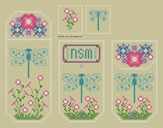 Uber cute, love the flowers at the bottom. Thinking of modernizing it by changing up the dragon fly.    Cross Stitch Happy: Guiltless Dragonfly Scissors Pocket & Fob