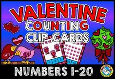 #SALE! #VALENTINE #COUNTING #TASK #CARDS - #NUMBERS 1 TO 20: COUNT AND #CLIP  This hands-on fun pack, containing 20 task cards, is an ideal resource for your Math Center. Children have to count the pictures (1-20) and clip the peg onto the corresponding number.  All you have to do is print, laminate and cut out the task cards. Also don't forget to bring some pegs! :) Let the children enjoy playing while learning!   #MATH #CENTER