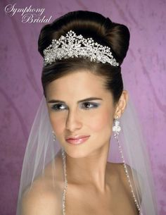 regal! Symphony Bridal 4907CR Royal Wedding Tiara Crown - Affordable Elegance Bridal -