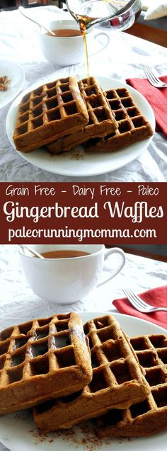 Grain Free, Dairy Free, Paleo Gingerbread Paleo Gingerbread Waffles @paleorunmomma - These waffles are made with coconut and tapioca flour, sweetened with molasses and spiced with cinnamon, ginger and cloves