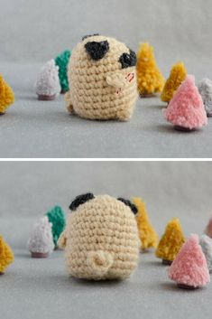 FREE crochet pug pattern & video tutorial by Mrs. Owl | This little pug is tiny enough to fit in your palm. The tutorial is in Russian but there are English subtitles that are clear and easy to follow! This would make such a cute stocking stuffer or Christmas ornament.