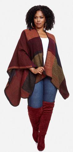 Plus Size Color Block Ruana - Plus Size Fashion for Women #plussize