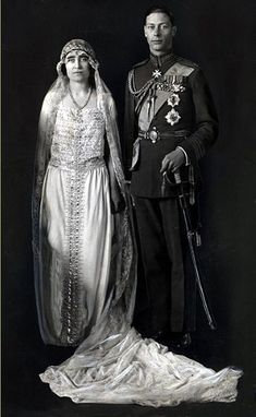 Queen Elizabeth, the Queen Mother on her wedding day in 1923 to King George VI, wearing a dress crafted by Madame Handley Seymour. The Parents of the present Queen Elizabeth