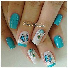 Short Nail Designs, Nail Art Designs, Fingernail Designs, Diva Nails, Butterfly Nail, Pretty Nail Art, Beautiful Nail Designs, Fancy Nails, Gorgeous Nails