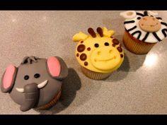 ▶ Cómo hacer Cupcakes Animales de la Selva (elefante, jirafa y cebra) | Cupcakes por Azúcar con Amor - YouTube