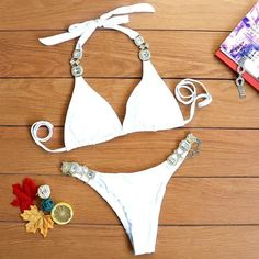962349a18ff43d Halter crystal bikini 2019 new Triangle sexy swimsuit bathers Push up high  cut swimwear women micro bathing suit