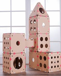 If you have a cat or cats, trust us-this is the house they want. Cat Litter Box Diy, Diy Cat Tower, Cat Playhouse, Cardboard Cat House, Cat Castle, Cat House Diy, Cat Towers, Cat Playground, Hamster