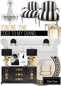 Black and white and gold room inspired by Coco Chanel. The Decor Diva   http://decordivastyle.com