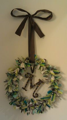 Fabric wreath made by me