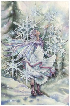 Wishing You Peace In the Season Of Wonder by Jody Bergsma ~ winter ~ fairy ~ white dove