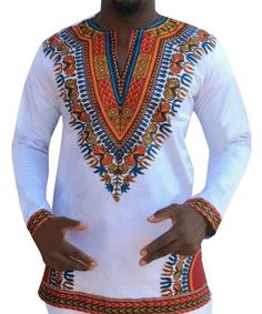 Men African Dashiki Robe Traditional Bazin Riche African Style Printed Dashiki T-shirts National Style Long Sleeve tops 052904