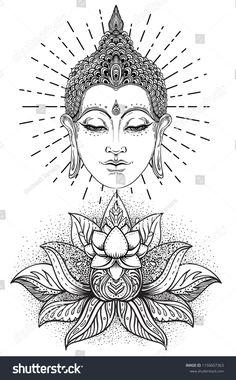 Vector de stock (libre de regalías) sobre Buddha Face Over Ornate Mandala Buddha face over ornate mandala round pattern. Buddha Drawing, Buddha Painting, Mandala Drawing, Mandala Tattoo, Mandala Art, Lotus Tattoo, Mandala Design, Buda Tattoo, Buddha Tattoo Design