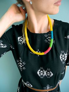 Button-rope necklaces: yellow by NOUSH on Etsy: $30,-