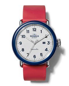 Shinola Detrola The Ace Stainless Steel & Silicone Strap Watch Stylish Watches, Watches For Men, American Manufacturing, Shinola, Nordstrom Gifts, Leather Accessories, Midnight Blue, Contemporary Design, Red And White