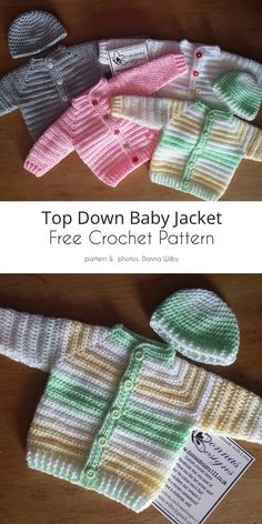 Crochet Baby Cardigan Free Pattern, Crochet Baby Jacket, Crochet Baby Sweaters, Baby Sweater Patterns, Crotchet Patterns, Baby Girl Crochet, Crochet For Boys, Crochet Baby Hats, Cute Crochet
