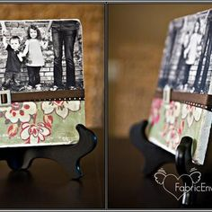 Grandparents always love gift that have photos on them.  These homemade photo tiles are wonderful as a display, or you could make a set – maybe one of each kids – and they could use them as coasters.