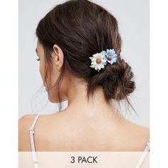 ASOS Pack of 3 Paper Daisy Hair Clips (€4,93) ❤ liked on Polyvore featuring accessories, hair accessories, multi, daisy hair accessories, floral hair accessories, floral hair clips, asos hair accessories and hair clip accessories