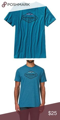 """Patagonia""""Fitz Roy"""" tee shirt Mens Patagonia Fitz Roy tee shirt in underwater blue. Anyone who has owned these shirts know how well made, soft, and comfortable they are. Only worn a few times. Make me an offer. Patagonia Shirts Tees - Short Sleeve"""