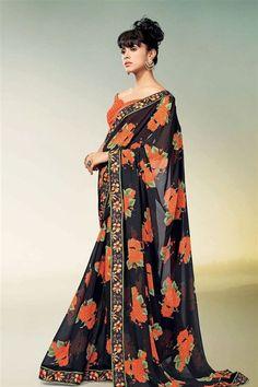 Affluent Designer Party Wear Printed Saree