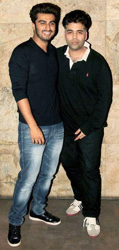 Arjun Kapoor with Karan Johar at the screening of '2 States'.