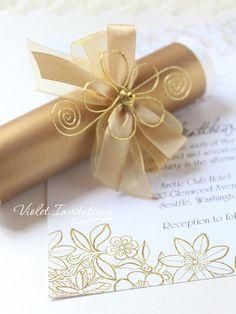 Flor oro desplazamiento invitación muestra hecho a mano boda