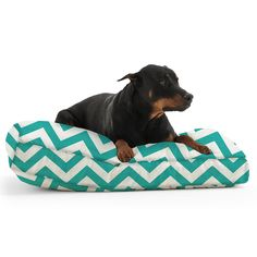 The Medium DogSack Rectangle Memory Foam Turquoise/ White Chevron Stripe Twill Pet Bed *** You can get more details by clicking on the image. (This is an affiliate link and I receive a commission for the sales) #DogLovers
