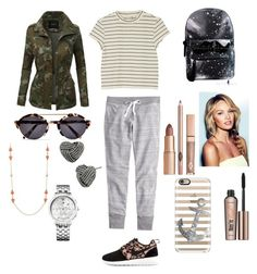 """"""""""" by dreamersaretta ❤ liked on Polyvore featuring J.Crew, Monki, NIKE, LE3NO, Benefit, Casetify, Illesteva, Kate Spade, Betsey Johnson and Tommy Hilfiger"""