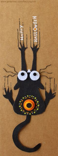 Halloween cat made from scrap denim material & felt! The collec '- toutpetitrien site!