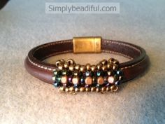 Stitched Leather Beaded Bead