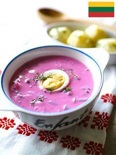 見た目も鮮やかなビーツ色のスープ。リトアニアの夏の料理。サラダ感覚の健康的なひと皿|『ELLE a table』はおしゃれで簡単なレシピが満載!