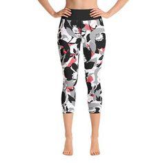 Black Floral Yoga Capri Leggings – SupremeLeggings Floral Leggings, Capri Leggings, Women's Leggings, Yoga Capris, Stretch Fabric, Look, Pajama Pants, Catalog, Clothes
