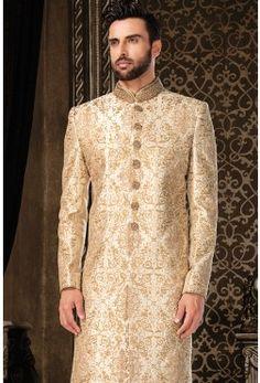 Wedding Sherwani-Beige & Gold-Zari Work-SH222