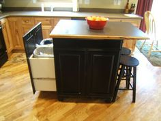 Kitchen Island with Trash Rollout