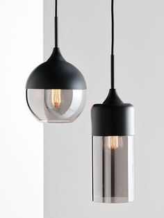 Lunar 1 Light Round Pendant in Black/Smoke