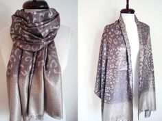 Pashmina #Scarf Oversize #Silk Shawls Brown #Silver Scarf for