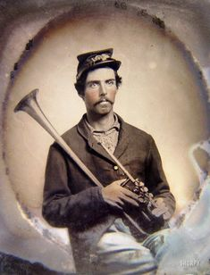 Man with a horn, ca. 1861-65. Soldier in Union infantry uniform with saxhorn. Sixth-plate tintype, hand-colored. Liljenquist Family Collection of Civil War Photographs, Library of Congress.