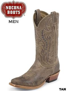 You will usually be pleased with western boots produced by legendary boot manufacturer Nocona Boots. This men\'s Nocona boot features a calfskin leather foot under a fancy stitched leather shaft. Mens Shoes Boots, Tan Boots, Black Boots, Leather Boots, Shoe Boots, Brown Leather, Cowboy Girl, Cowboy Hats, Western Boots For Men