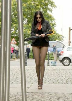Great pantyhose outdoors
