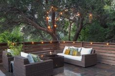17 Irresistible Eclectic Deck Designs That Will Boost Your Outdoor Appeal - Living Area on the Deck / Patio / Porch - Lighting - Twinkle / String Lights