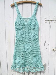 60S Look | One off .. 1960s Vintage 60s 70s hand crochet dress Mod hippie boho S ...