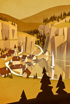 environment, yellow, town, landscape, setting, hills, forrest, game, bg, illustration