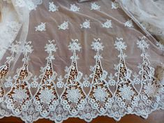 white lace fabric, vintage style embroidery tulle fabric, border fabric, both border fabric White Lace Fabric, Bridal Lace Fabric, Tulle Fabric, Cutwork Embroidery, White Embroidery, Embroidery Designs, Blessing Dress, Fabric Material, Vintage Fashion