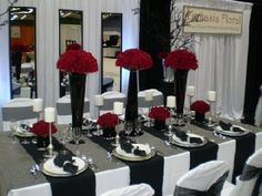 Black white and red wedding table settings. Black white and red wedding table settings. White Wedding Decorations, Wedding Themes, Wedding Centerpieces, Wedding Colors, Table Decorations, Wedding Ideas, Wedding Reception, Trendy Wedding, Reception Ideas