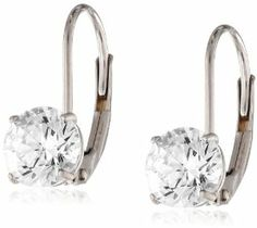 Amazon.com: 10k White Gold Dangle Earrings Made with Round-Cut Swarovski Zirconia (2 cttw): Jewelry