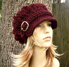 Hand Crocheted Hat Womens Hat - Monarch Ribbed Crochet Newsboy Hat in Oxblood Wine Burgundy - Winter Fashion